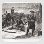 Winter Scene at the Continental Army Encampment Square Sticker
