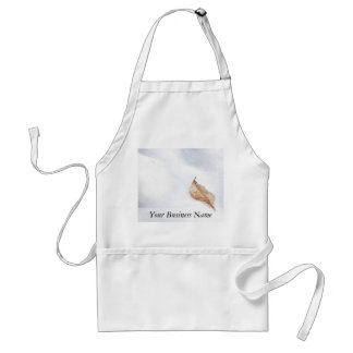 Winter Scene - Beach Leaf In Snow Adult Apron