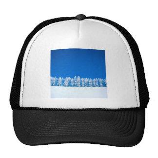 Winter Scene Blue White Clearing Trucker Hat