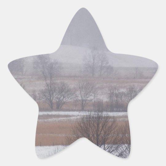 Winter Scene Cades Cove Great Smoky Mountains Star Sticker