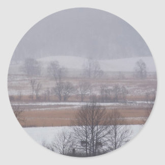 Winter Scene Cades Cove Great Smoky Mountains Round Stickers
