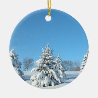 Winter Scene Ceramic Ornament