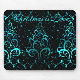 Winter scene, Christmas is Love mousepad