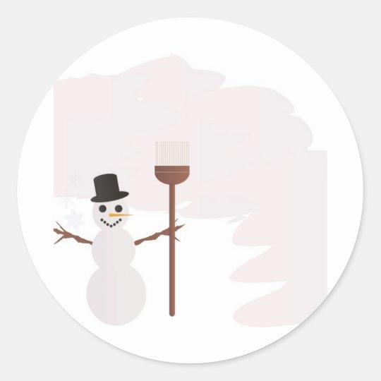 Winter Scene Classic Round Sticker