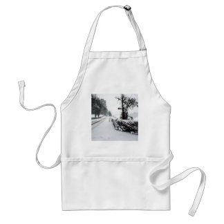 Winter Scene Cold Country Road Adult Apron