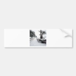 Winter Scene Cold Country Road Bumper Stickers