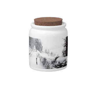Winter Scene Cold Country Road Candy Dishes