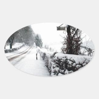 Winter Scene Cold Country Road Oval Sticker