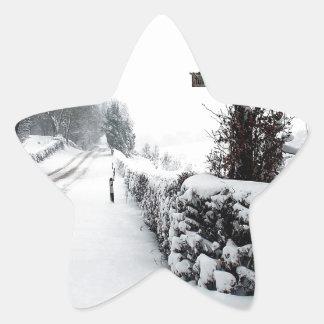 Winter Scene Cold Country Road Star Sticker