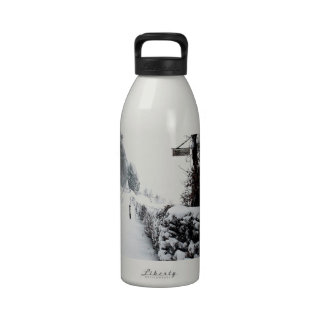 Winter Scene Cold Country Road Reusable Water Bottles