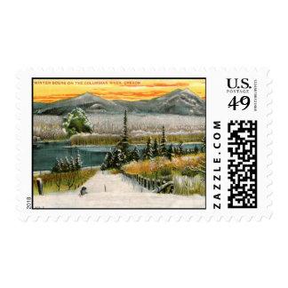 Winter Scene, Columbian River, Oregon Vintage Stamps