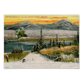 Winter Scene, Columbian River, Oregon Vintage Poster