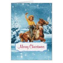 Winter Scene  Cowgirl and Horse Christmas Card 2