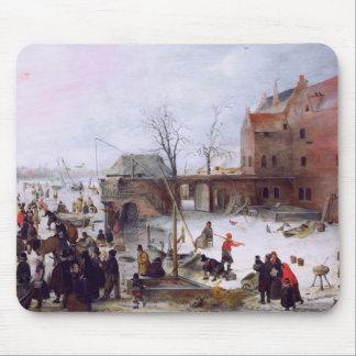 Winter Scene. Fine Art Christmas Gift Mousepad
