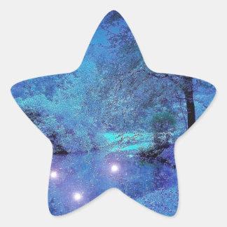Winter Scene Frosty Purple Wilderness Star Sticker