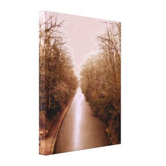 winter scene, frozen canal canvas print