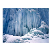Winter scene, Frozen waterfall in the Haute Jura Postcard