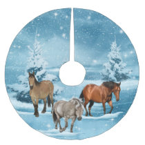 Winter Scene Horses Snow  And Trees Christmas Brushed Polyester Tree Skirt