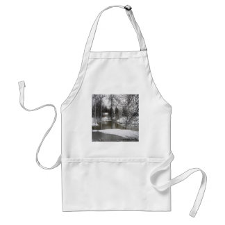 Winter Scene Icey Meadow River Adult Apron