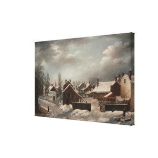 Winter Scene in Brooklyn - Francis Guy Canvas Print