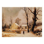 Winter Scene in New England by Durrie Poster
