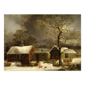 Winter Scene in New Haven CT by Durrie Photo Print