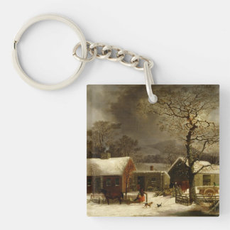 Winter Scene in New Haven CT by Durrie Single-Sided Square Acrylic Keychain