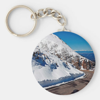 Winter Scene Mountain Road Cold Daytime Keychains