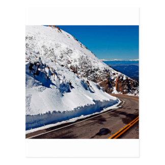 Winter Scene Mountain Road Cold Daytime Postcard