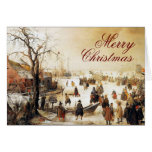 Winter Scene on a Canal ~ Vintage Christmas Greeting Cards