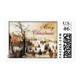 Winter Scene on a Canal ~ Vintage Christmas stamp