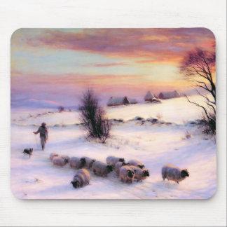 Winter Scene Painting. Christmas Gift  Mousepad