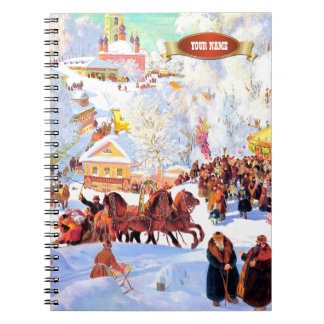 Winter Scene Painting Christmas Gift Notebooks