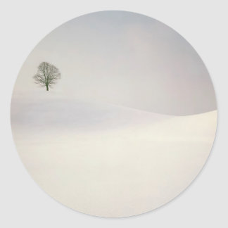 Winter Scene Peaceful Season Switzerland Classic Round Sticker