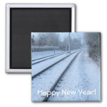Winter scene refrigerator magnet