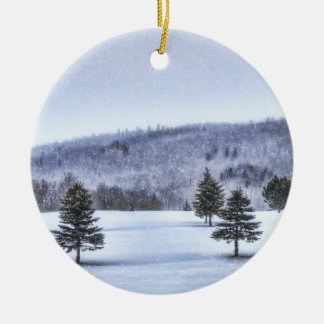 Winter Scene Round Ornament