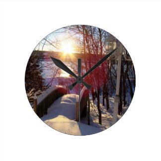 Winter Scene Round Wallclocks