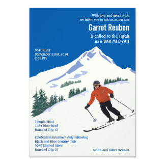 Winter Scene Ski Resort Bar Mitzvah Invitation