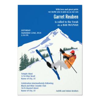 Winter Scene Ski Resort Bar Mitzvah Invitation