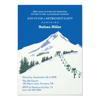 Winter Scene Ski Retirement Invitation