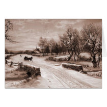 winter scene, sleigh ride card