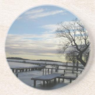 Winter Scene Snow  Bridge Tree Coaster