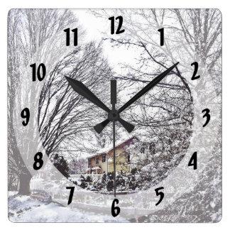 Winter Scene Square Wall Clock