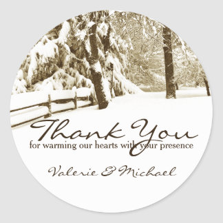 Winter Scene Thank You Favor Classic Round Sticker