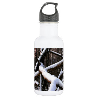 Winter Scene White Powder Woods Water Bottle