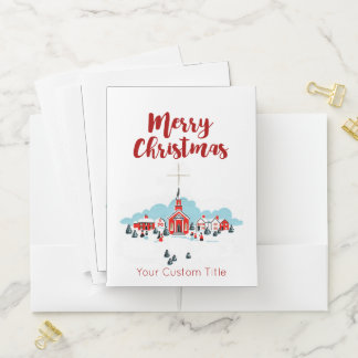 Winter Scene with a Red Church and Christmas Star Pocket Folder