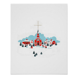 Winter Scene with a Red Church and Christmas Star Poster