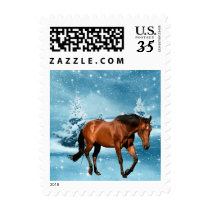 Winter Scene With Brown Horse Holiday Postage