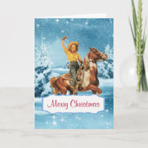 Winter Scene With Cowgirl and Horse Christmas Card
