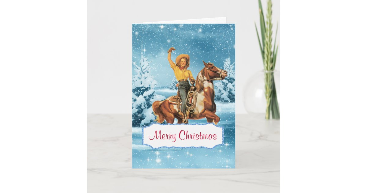 Winter Scene With Cowgirl and Horse Christmas Card | Zazzle.com